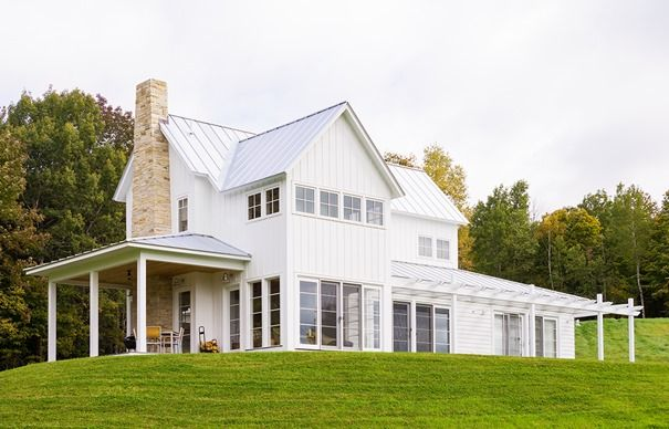 Blend Of Contemporary Clean Lines With Classic Farmhouse Style Pitched Roof And Covered Porch Required Often The Exterior Is Vertical Board Batten
