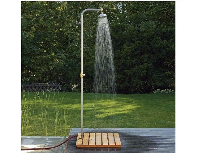 Above A Freestanding Stainless Steel Garden Shower Is Ed By Hose Parts Include Pipe Head Br Ings And Foot Stand Plus