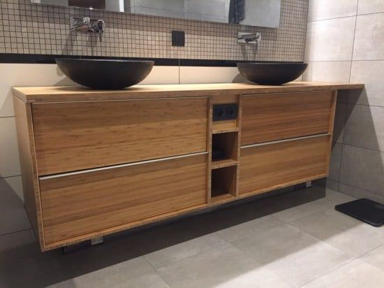 Custom bamboo bathroom furniture with godmorgon ikea for Comptoir salle de bain ikea
