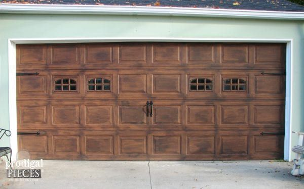 8 diy garage door updates remodelaholic bloglovin for Faux wood finish garage door