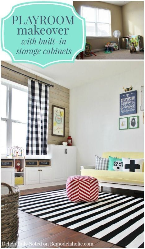 playroom makeover with built in cabinets for storage remodelaholic