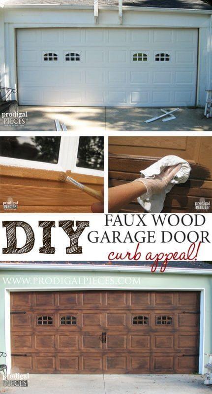 Faux wood carriage garage door tutorial remodelaholic for Faux painted garage doors