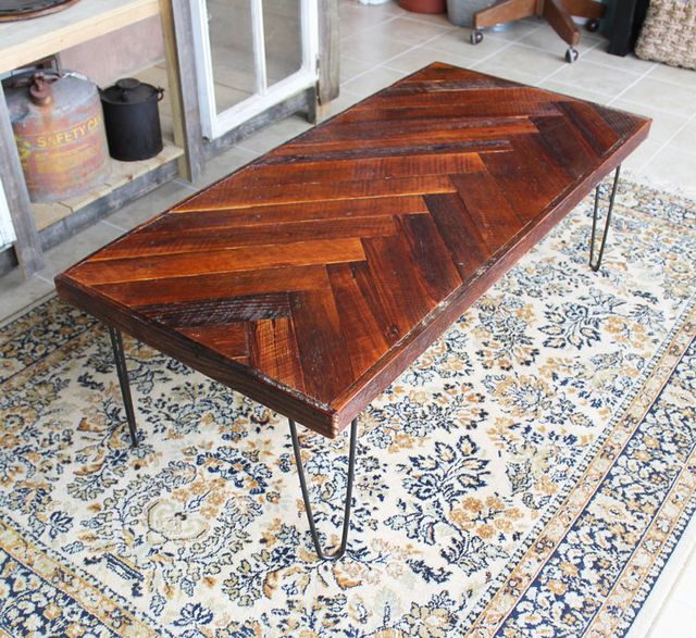 DIY Wood Herringbone Coffee Table With Hairpin Legs
