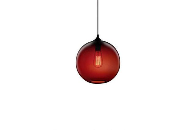Above one of our go to glass globe lights niches solitaire pendant comes in crimson shown and nine other colors prices range from 531 25 from lumens