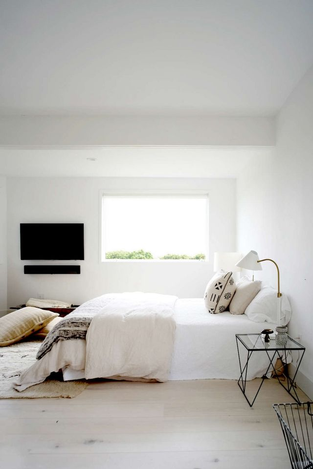 Bohemian Beach Bedroom Above The Vibe Neutrals Layered On Set Against A Backdrop Of Bright White Walls And Bleached Wide Planked Red Oak