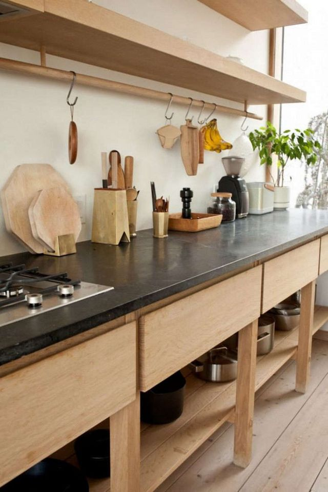 Above A Custom Oak Cabinet With Soapstone Counters And Open Closed Storage Anchors The Back Wall Photograph By Juli Daoust