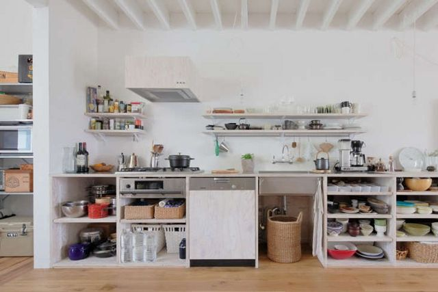 Above The Open Kitchen Is Composed Of Larch Plywood Finished With Translucent White Osmo Wood Wax A Combination Also Used For Wall Storage Vent Cover