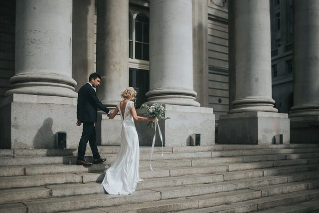 1b6a3e05a1b How utterly divine is the lace V back on Bride Sophie's Rose and Delilah  gown? And have you clocked her bridal up do yet? She looks absolutely  stunning from ...