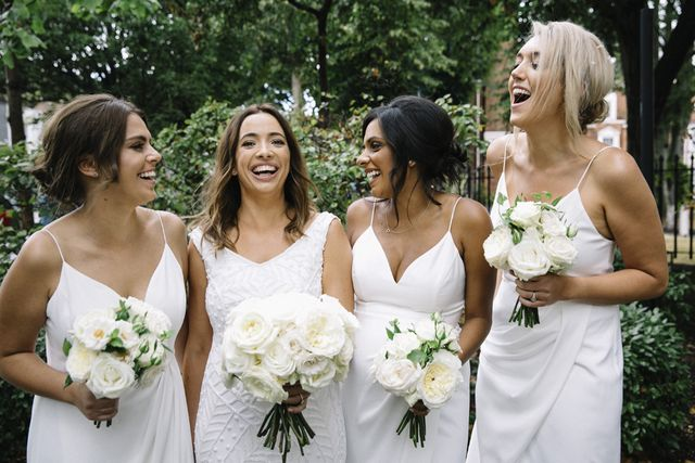 4052655d14 White Bridesmaids Dresses and Black Tuxedos for Sophisticated ...