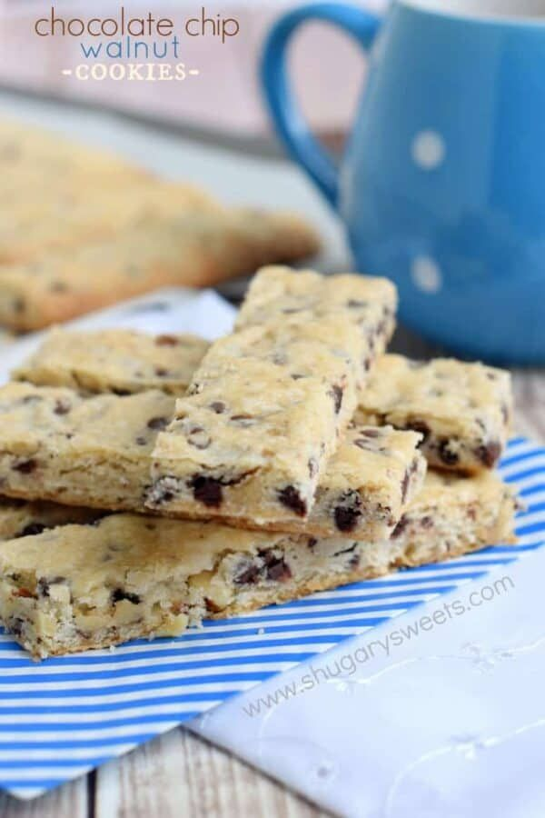 Chocolate Chip Walnut Cookie Sticks : rich, buttery shortbread cookies ...