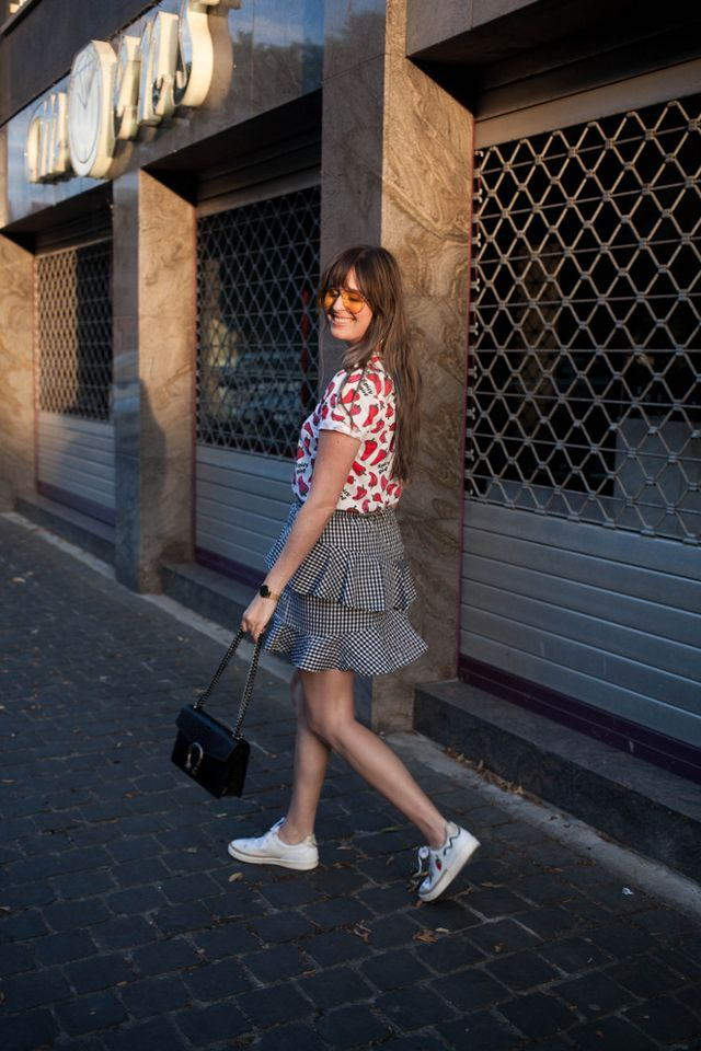 b1d9d71b6e Outfit: chili pepper tee, gingham ruffle skirt | The Styling ...