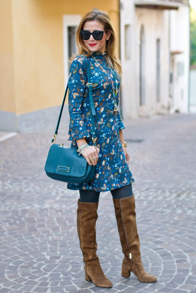 Hippie chic style: floral mini dress and suede cuissardes | Fashion ...