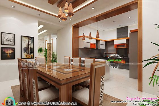 Dining with open kitchen and living room | Kerala home ...
