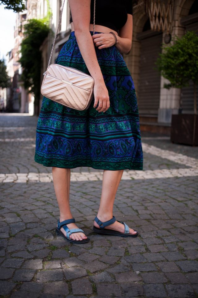 detailed look fe2be 107eb off shoulder crop top  ASOS - circle skirt  vintage via Think Twice - cross  body bag  Zara - sandals  c o Teva - sunglasses  c o Polette - earrings     Other ...