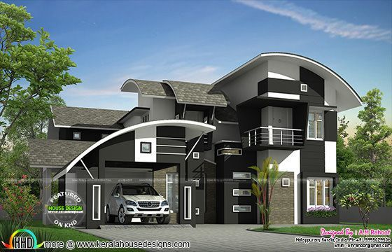 2650 sq ft contemporary curved roof home kerala home for Curved roof house plans