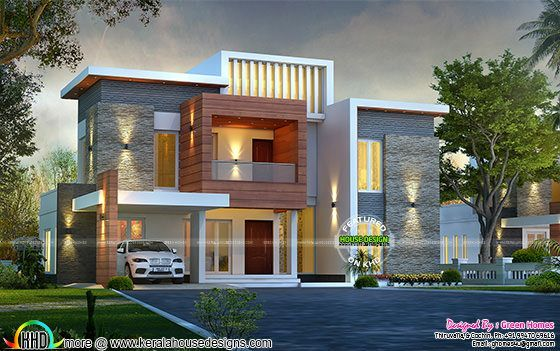 Front Elevation East Facing : Awesome contemporary style sq ft home kerala