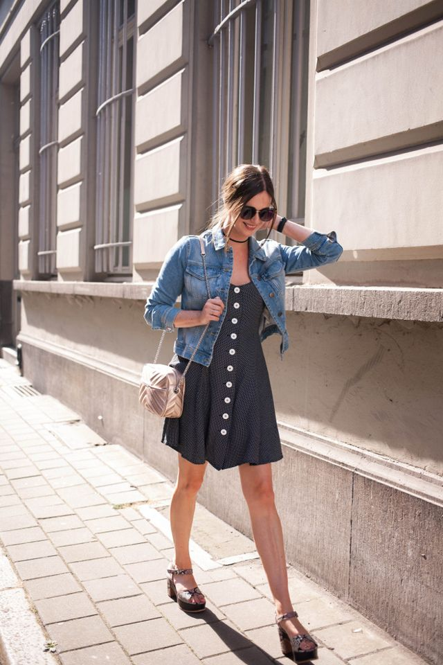 6436ca9b96 Outfit: vintage button through dress, denim jacket | The Styling ...