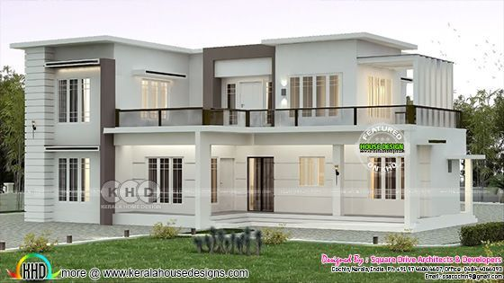 2000 Sq Ft Flat Roof Home Plan With 4 Bedrooms Kerala Home Design Bloglovin