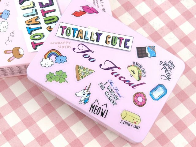 New from too faced is an adorable eyeshadow palette featuring some bright fun colors with two sheets of fun stickers the totally cute eyeshadow palette