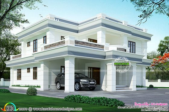 Modern flat roof house in 395 sq yd kerala home design for Flat roof house plans kerala