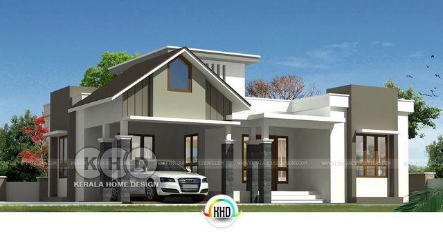 1398 Square Feet 3 Bedroom Modern Single Floor House Kerala Home