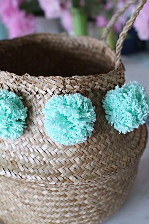 DIY Pom Pom Basket (an easy High/Low project!) | IHeart Organizing ...