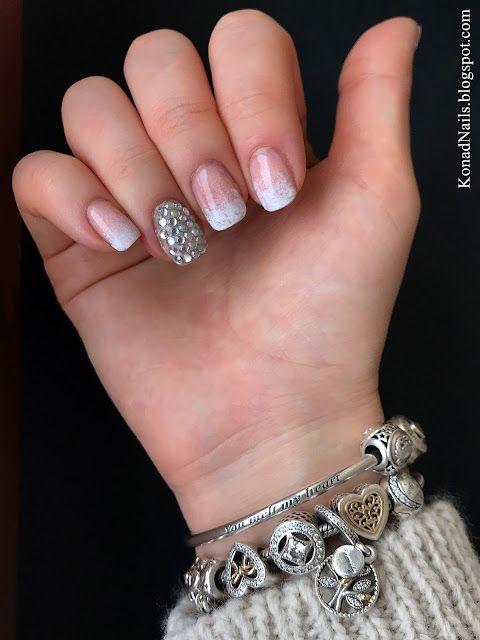 White and nude gradient nails   Konad Addict   Bloglovin\'