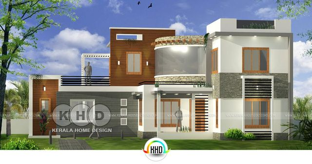 Area Of 1800 Square Feet 168 Meter 200 Yards 3 Bedroom Sloping Roof Home Plan Design Provided By DZain Architects Kottayam Kerala