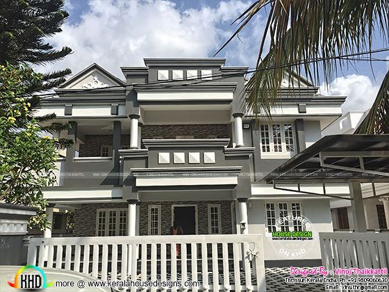 an old style house completely renovated in a new modern look construction and design done by vinoj thaikkattil from thrissur kerala
