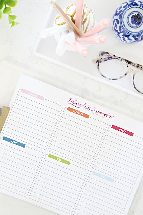 Free Printable Future Dates To Remember Iheart Organizing
