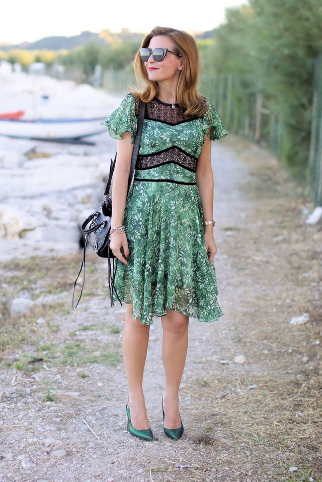 3b11c8b8378a Flutter sleeves hollow out leaves print dress