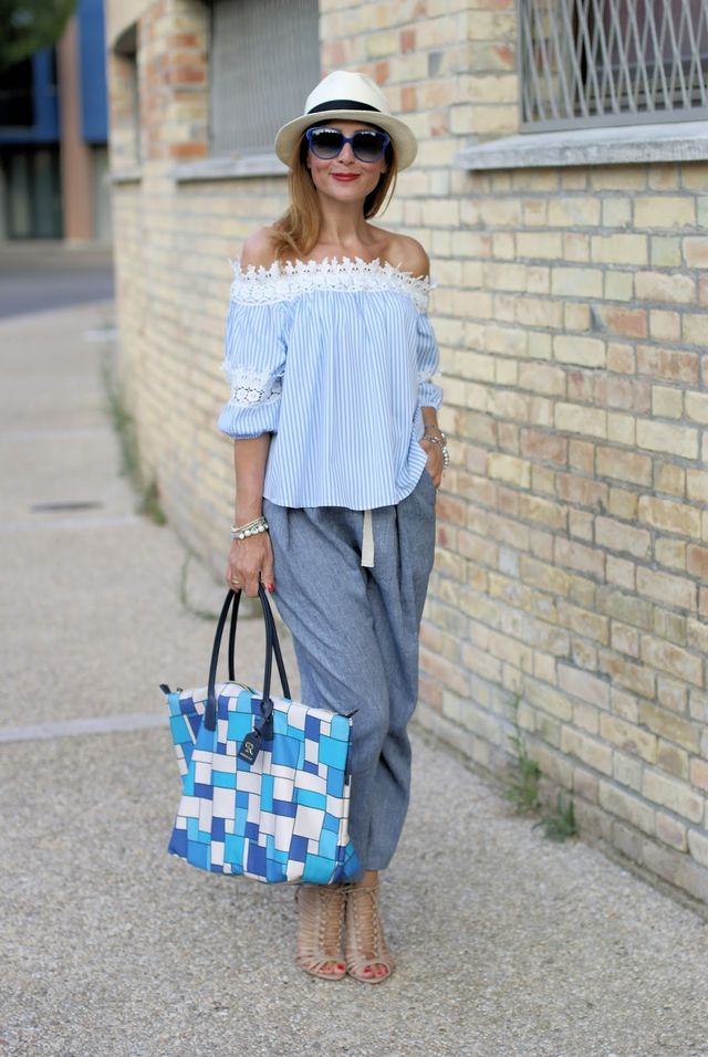 Off the shoulder top: summer chic outfit