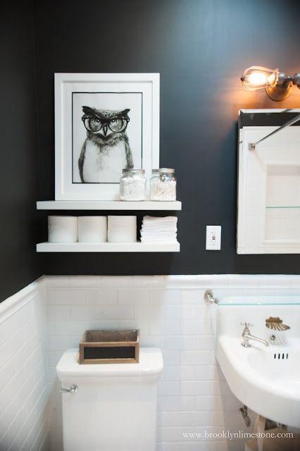 Black and white bathroom mini makeover complete brooklyn for Black and white bathroom paper