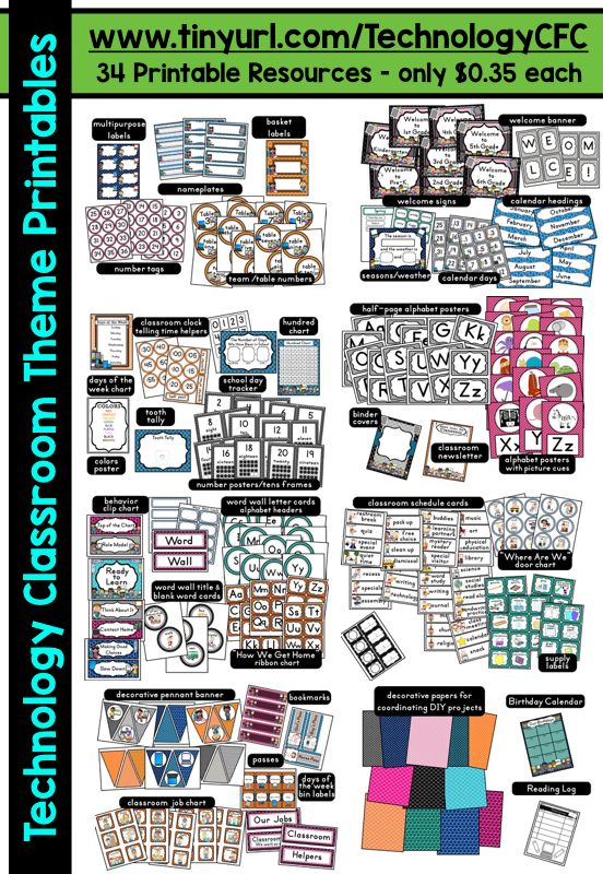 Free Classroom Decoration Resources ~ Technology themed classroom ideas printable