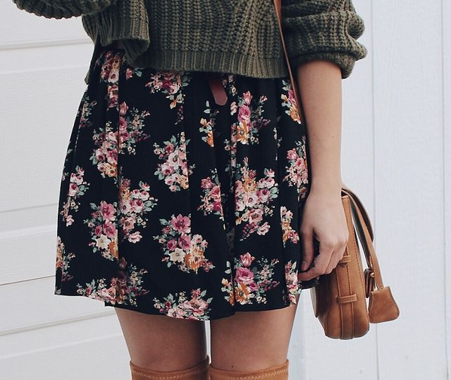 364b1f368b9 Outfit - Chunky Sweater and Floral Dress. Pin