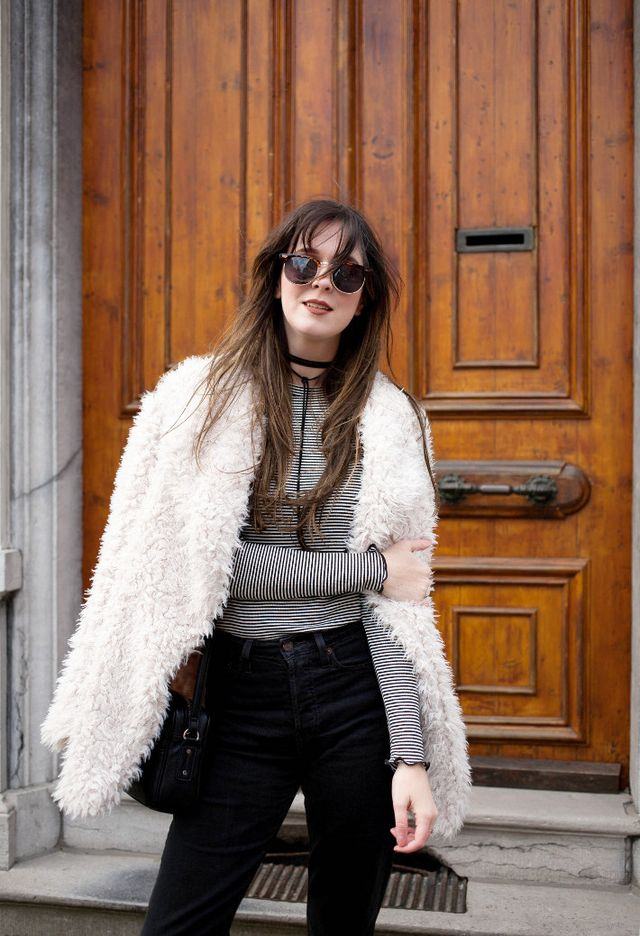 a56cfd3007fe shaggy faux fur coat: Primark - jeans: Levis Wedgie fit - top: Pimkie -  choker: Forever21 - leopard print boots: c/o Wonders - sunglasses: c/o  Polette ...