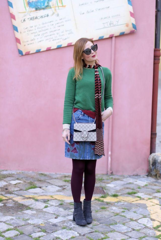 How to wear a denim mini skirt in Winter