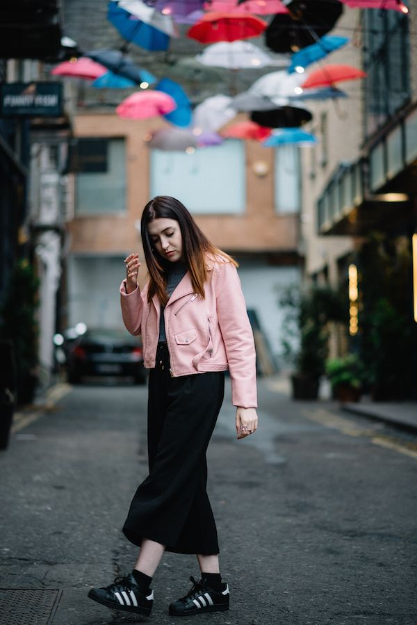 4e65690242519 CLICK TO SHOP: Pink biker jacket - Zara (similar) | Crop tee - American  Apparel (similar) | Crepe culottes* - New Look Petite (similar) | Superstar  ...