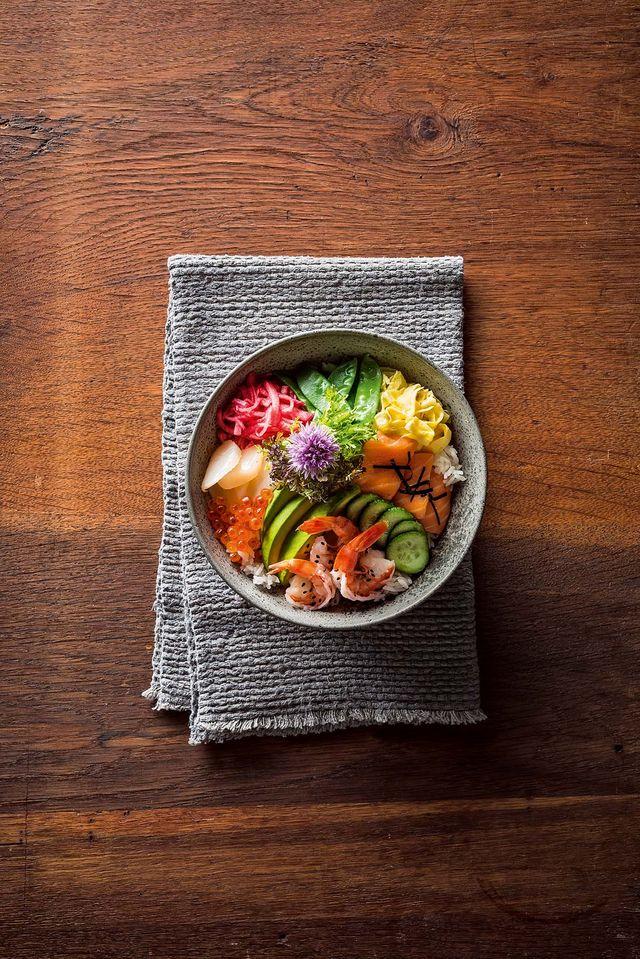 Chirashi Kleurrijke Japanse Sushibowl Met Je Favoriete