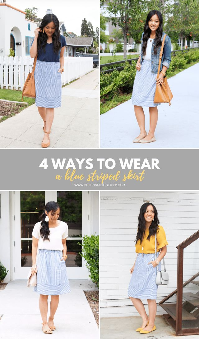 1a43ffdfffdc Four Ways to Wear the J.Crew Factory Blue Striped Skirt + 6 Skirt Options