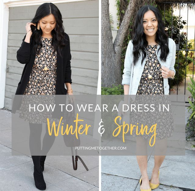 fa2ae0f0b66 How to Wear a Dress in Different Seasons  Black Floral Print in Winter and  Spring!