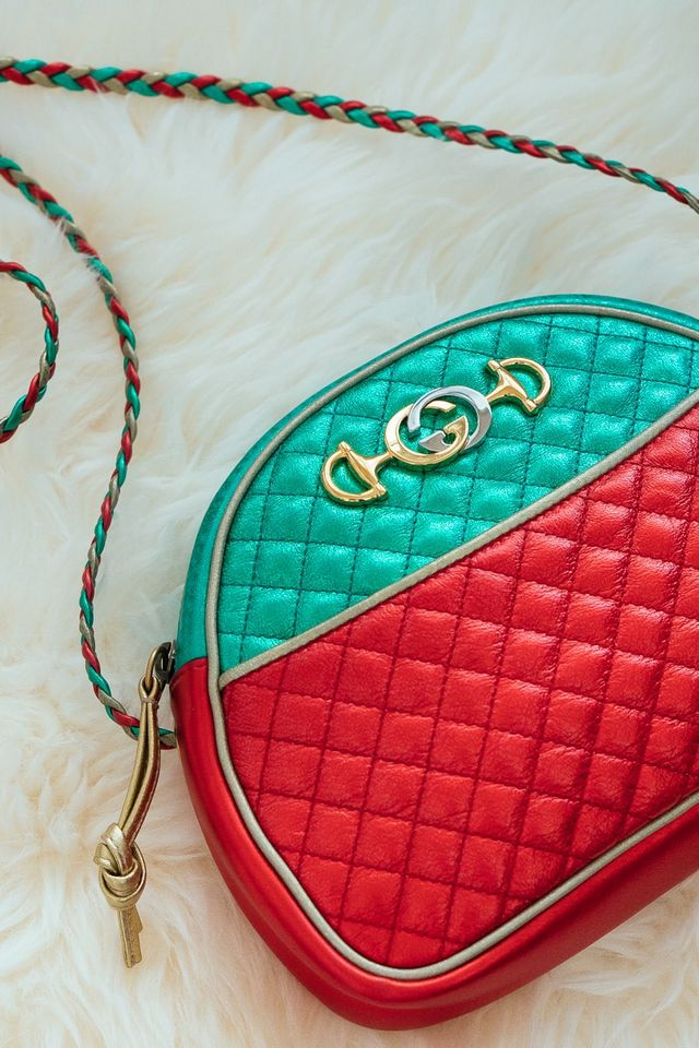 159da3468558 My friend was wearing this bag in a cool blue tone, but Gucci sent it over  in this fun red and green version.