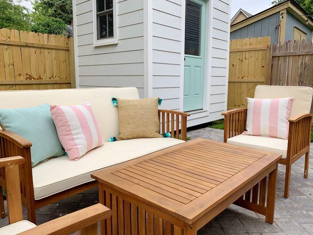 The Duplex Backyards – Patios, Sheds, & Outdoor Showers Galore