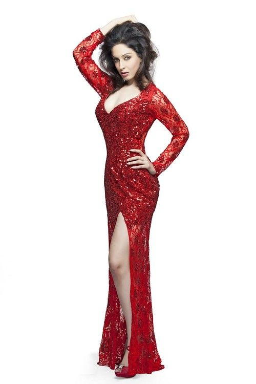 a64a0dda79880 High Slit Glitter Lace Gown 9879 | Posts by Couture Candy | Bloglovin'