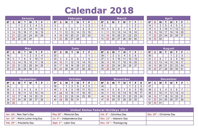 Free Printable Calendar 2018 Customize