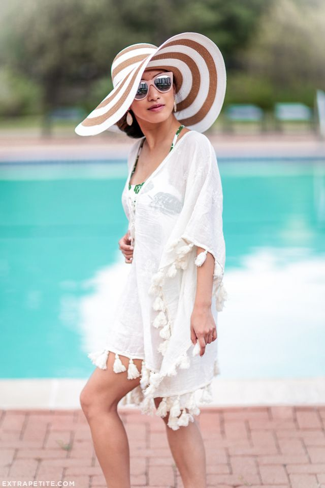 5234b931aeaf6 Pool Day Outfit  One Piece Swimsuit + Striped Floppy Hat