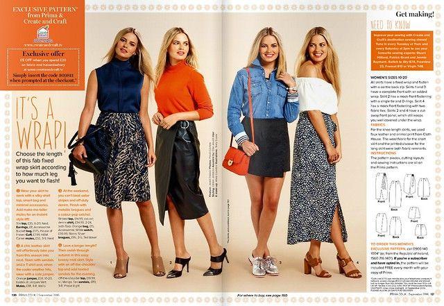 PRIMA Magazine - September 2016, Mock-Wrap Skirt | Sew, incidentally ...
