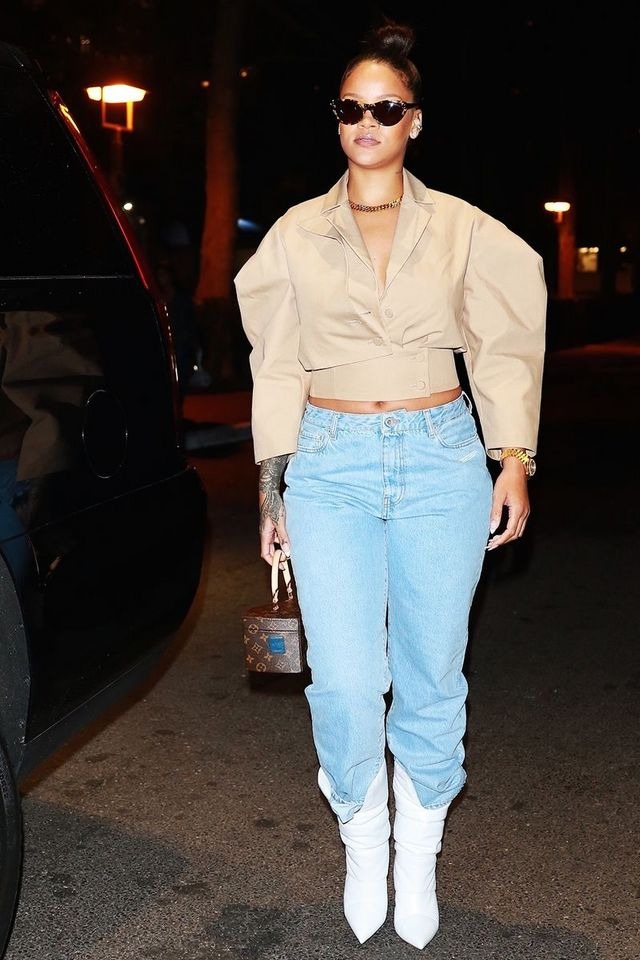 68f7ab1f9b3 On Kendall Jenner: Tom Ford Sheer Knit Henley Top ($1750); Balenciaga Tube  Jeans ($695); Louis Vuitton bag; Stuart Weitzman Cling Leather Stretch Sock  ...