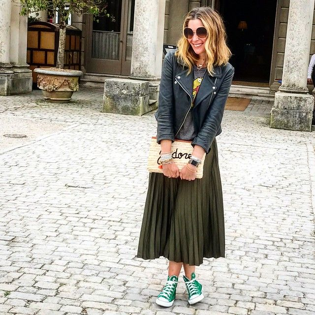 6d23d5be22b MTV tee - Hollister Green pleated skirt - Topshop Grey Onyx Biker Jacket -  hush (don t forget this has 10% off now..) Green hi tops - Converse