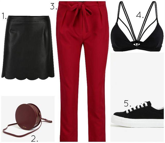 1. černá koženková sukně   2. kožená kulatá crossbody kabelka   3. červené  kalhoty s vysokým pasem   4. černá podprsenka   4. černé tenisky na  platformě fd8503e3861